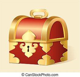 ilustración, de, un, caricatura, pecho de tesoros, con, oro,...
