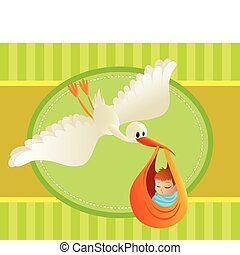 ilustración, de, un, cigüeña, entregar, un, bebé, en, colorido, fondo., grande, espaciado, para, text., perfecto, para, tarjetas, y, banners.