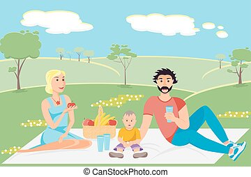 ilustración, de, un, familia feliz