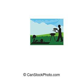 ilustración, de, un, familia , tener un picnic