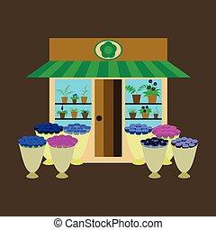 ilustración, de, un, florería, con, flores, aire libre, y, dentro
