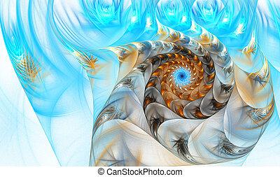 ilustración, de, un, fractal, cáscara, en, el, mar