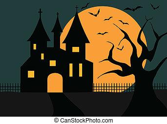 ilustración, de, un, halloween, castillo