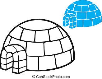 ilustración, de, un, iglú