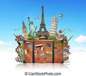 ilustración, de, un, maleta, lleno, de, famoso, monumento