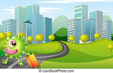ilustración, de, un, monstruo, con, un, bolsa, ambulante, en, el, camino, a través de, el, alto, edificios