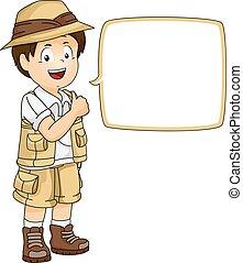 ilustración, de, un, niño pequeño, en, lleno, engranaje safari, posición, próxima t