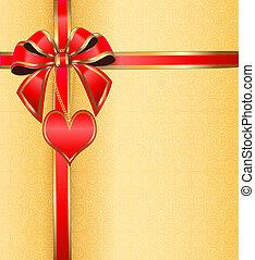 ilustración, de, un, postal, en, día de valentín, con, el corazón, en una cadena, cinta, con, un, arco, y, ornamento