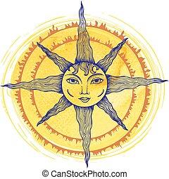 ilustración, de, un, sol