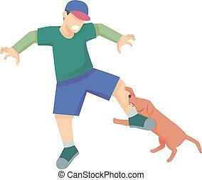 ilustración del hombre, perro, mordedura