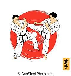ilustración del hombre, se manifestar, karate