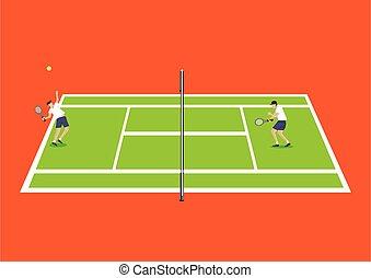 ilustración, deporte, vista, tenis, cima, tribunal, vector
