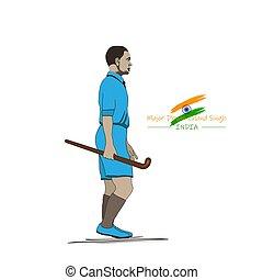 ilustración, dhyan, mayor, día, aniversario, deportes, ...