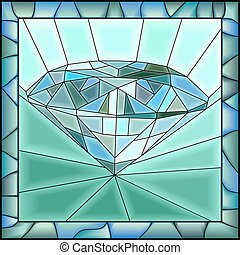 ilustración, diamond., mosaico