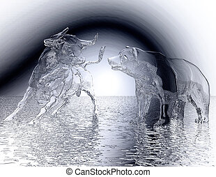 ilustración, digital, oso, alivio, toro, 3d