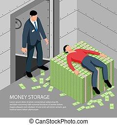 ilustración, dinero, almacenamiento, isométrico