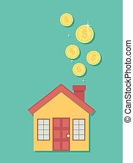 ilustración, dinero, casa, excepto