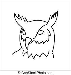 ilustración, diseño, arte, búho, vector, línea, design., animal, clip, icono de águila, style.
