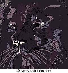 ilustración, diseño, colores oscuros, león