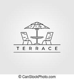 ilustración, diseño, línea, minimalista, vector, terraza, logotipo, icono, arte