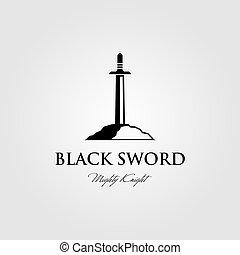 ilustración, diseño, logotipo, piedra, negro, vector, espada, pegado