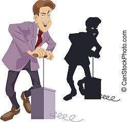 ilustración, divertido, acción, hombre de negocios, detonator.
