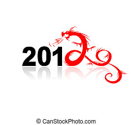 ilustración, dragón, diseño, año, su, 2012