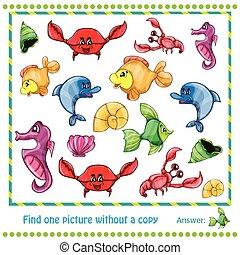 ilustración, educativo, juego, para, niños, -, hallazgo, imagen, sin, copia