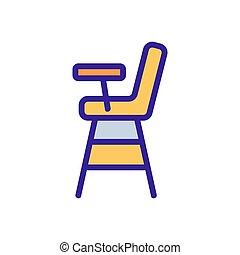 ilustración, encimera, silla, contorno, alimentación, vector, icono, de madera