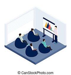 ilustración, entrenamiento, coworking
