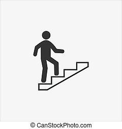 ilustración, escalera, design., vector, icon., escaleras, carrera, plano
