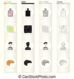 ilustración, estilo, conjunto, contorno, iconos, imagen,...