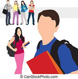 ilustración, estudiantes