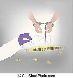 ilustración, evidencia, forense, infographic., utilizado, ser, lata, gracioso, murderer., uso, delincuente, métodos, confirmar, secreciones