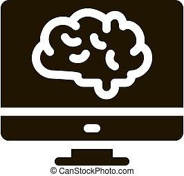 ilustración, exhibición, glyph, vector, cerebro, icono