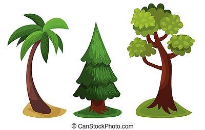 ilustración, follaje, árbol, vector, exuberante, verde, tronco
