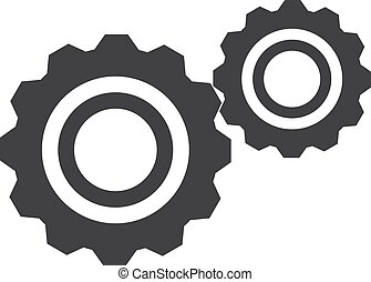 ilustración, fondo., vector, negro, engranajes, blanco, icono