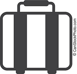 ilustración, fondo., vector, negro, maleta, blanco, icono