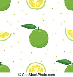 ilustración, fondo., vector, seamless, patrón, blanco, fruta, yuzu, verde, japonés, cidra, aislado