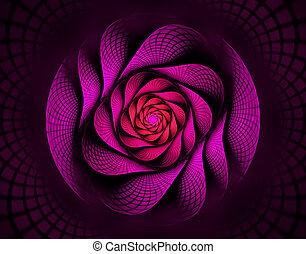 ilustración, fractal, espiral, en, flor roja, interesante