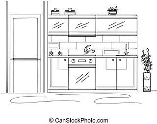 ilustración, furniture., cocina, vector, estilo, bosquejo