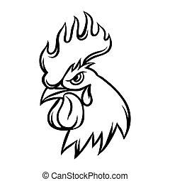 ilustración, gallo, fondo negro, dibujado, blanco, mano