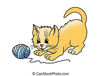 ilustración, gatito