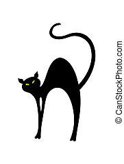 ilustración, gato, back., vector, negro, curvo, tiene