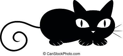 ilustración, gato, fondo., vector, negro, abajo, blanco,...