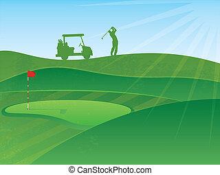 ilustración, golfing