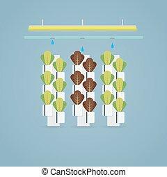 ilustración, granja, hydroponic