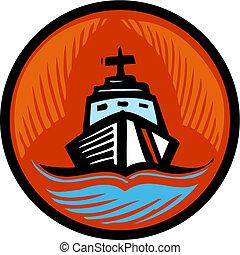 ilustración, guardacostas, círculo anaranjado, barco