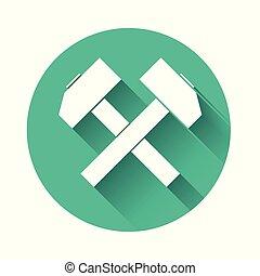 ilustración, herramienta, blanco, aislado, largo, button., martillos, vector, cruzado, dos, verde, círculo, repair., shadow., icono