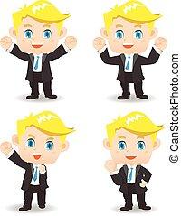 ilustración, hombre, éxito, empresa / negocio, caricatura